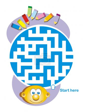 Maze game: child and pencils