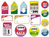 Different sale icons and labels