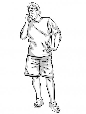 Man on vacation, talking on cell phones