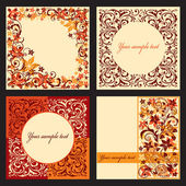 Vector set of autumn cards with a floral pattern.