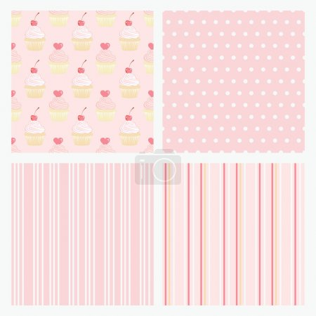 Set pink confectionery seamless background.