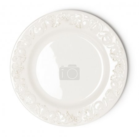 Photo for Vintage white empty plate on white background - Royalty Free Image