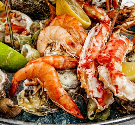Photo for Seafood, international cuisine, seafood dishes luxury class - Royalty Free Image