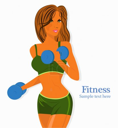 Illustration for A vector illustration of a beautiful girl exercising in a gym - Royalty Free Image