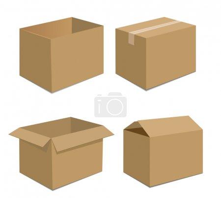 Illustration pour Collection recycler les emballages de boîtes brunes. illustration vectorielle - image libre de droit