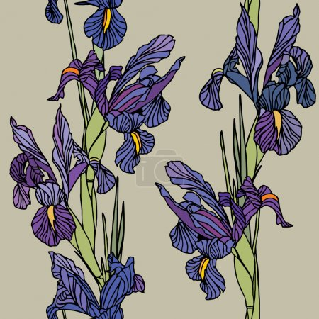 Illustration for Elegance Seamless pattern with irises flowers. Vector floral illustration - Royalty Free Image