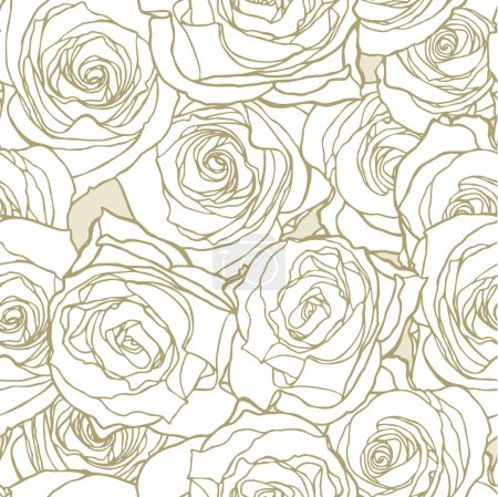 Illustration for Elegance Seamless pattern with flowers roses, vector floral illustration in vintage style - Royalty Free Image