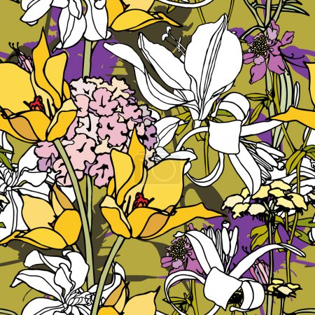Elegance Seamless pattern with flowers tulips
