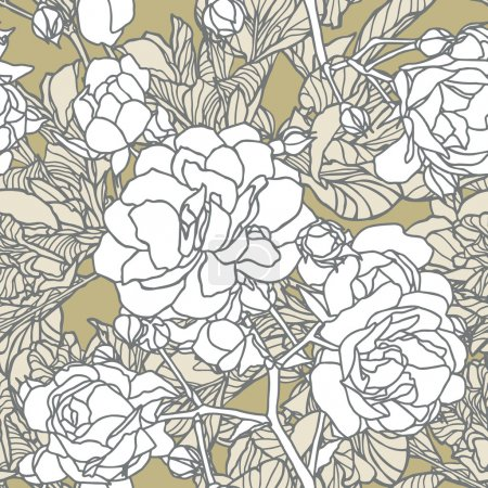 Elegance Seamless pattern with flowers roses