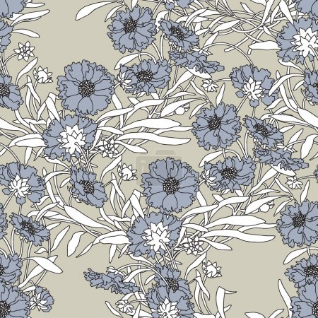 Elegance Seamless pattern with flowers cornflowers ornament