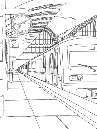 The train at the railway station. Vector illustrat...