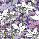 Seamless flower pattern with orchids and ornament floral vector