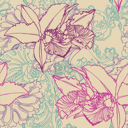 Seamless flower pattern with orchids and ornament