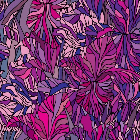 Elegance Seamless pattern with flowers narcissus and iris