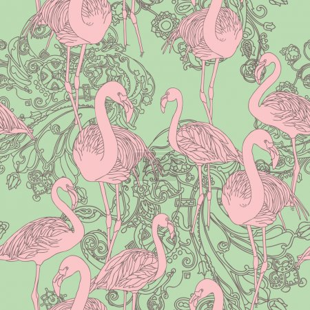 Elegance Seamless pattern with birds flamingo