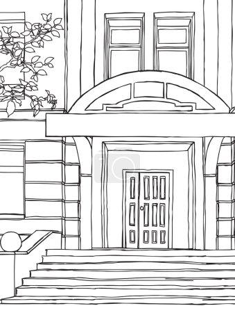 Illustration pour Bâtiment. dessin à la main illustration vectorielle . - image libre de droit