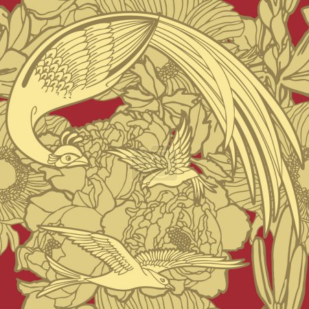 Elegance Seamless pattern with flowers and birds of paradise
