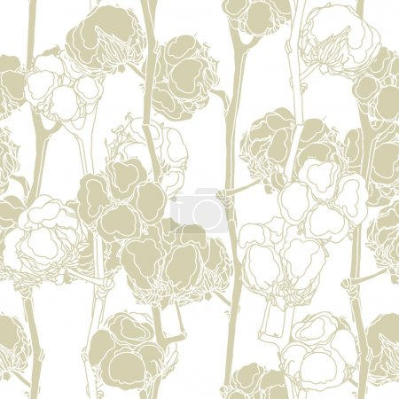 Illustration for Elegance seamless pattern with cotton flowers, floral vector illustration in vintage style - Royalty Free Image