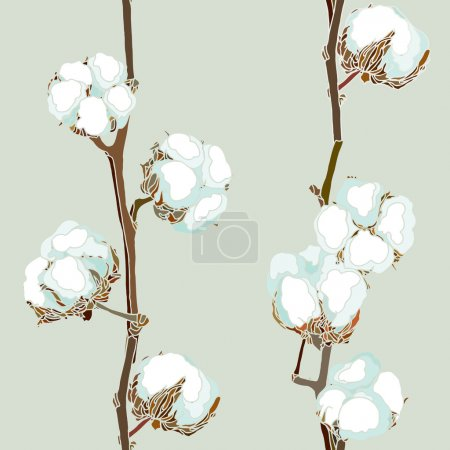 Illustration for Seamless pattern with cotton flowers, floral vector - Royalty Free Image