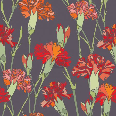 Elegance Seamless pattern with flowers cloves