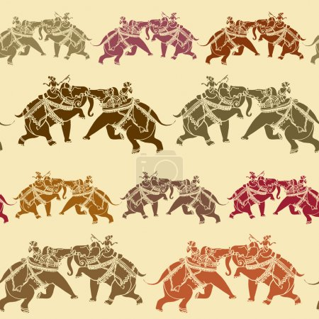 Elegance Seamless pattern with Indian army of elephants