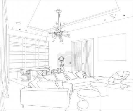 Illustration for Editable vector illustration of an outline sketch of a interior. 3D Graphical drawing interior - Royalty Free Image