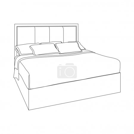 Illustration for Modern double bedroom with wood furniture. Hand drawn sketch illustration isolated on white background - Royalty Free Image