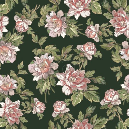 Illustration for Elegance Seamless pattern with flowers, vector floral illustration in vintage style - Royalty Free Image