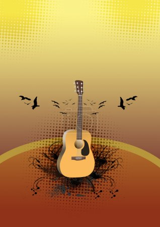 Photo for Abstract color guitar concert poster background with space - Royalty Free Image