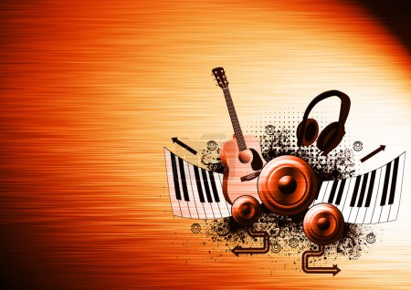 Photo for Music poster: guitar, piano, speaker and headphone abstract backround with space - Royalty Free Image