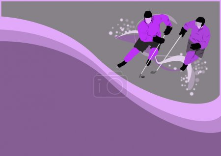 Photo for Hockey poster: player on ice background with space - Royalty Free Image