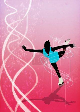 Photo pour Skater girl, affiche d'invitation de danse sur glace ou flyer fond avec de l'espace - image libre de droit