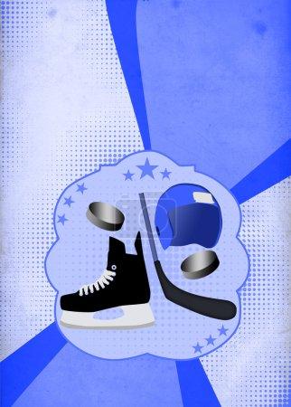 Photo pour Affiche d'objet de sport de hockey ou fond de flyer avec espace - image libre de droit