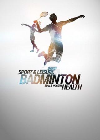 Photo pour Badminton affiche d'invitation sportive ou flyer d'information avec espace vide - image libre de droit