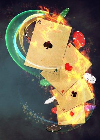 Photo pour Casino abstraite et invitation poker annonce fond avec espace vide - image libre de droit