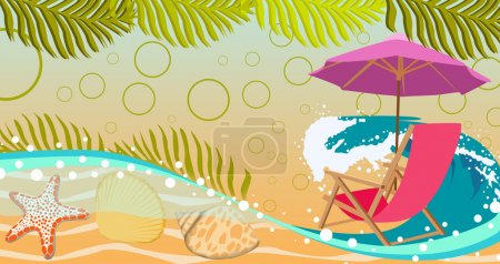 Photo for Summer holiday, travel advert poster or flyer background with empty space - Royalty Free Image