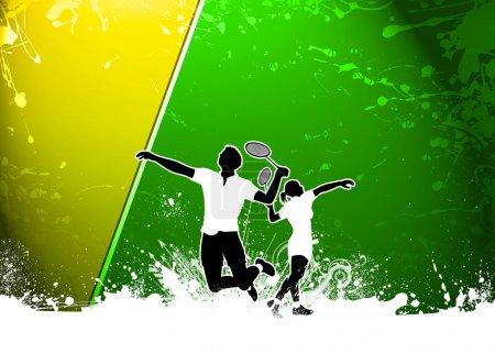Photo pour Affiche d'invitation sportive Badminton ou fond flyer avec espace vide - image libre de droit