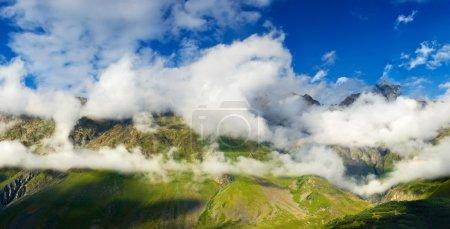 High rock in cloud.
