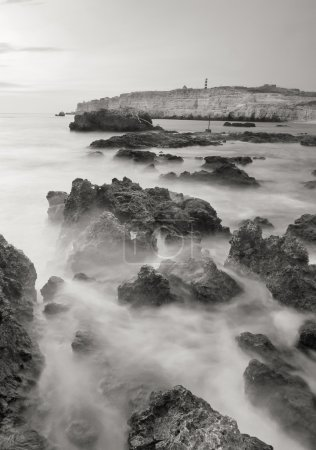 Photo pour Seascape monochrome. Roches et pierres en mer baie - image libre de droit