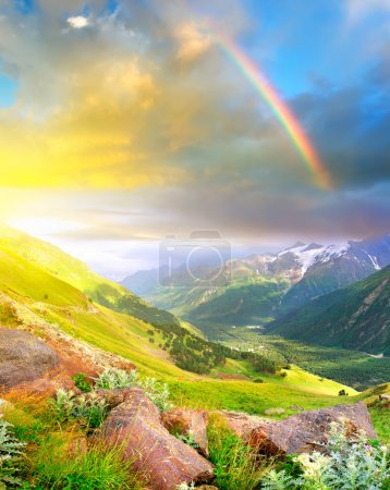 Rainbow and sunshine after rain