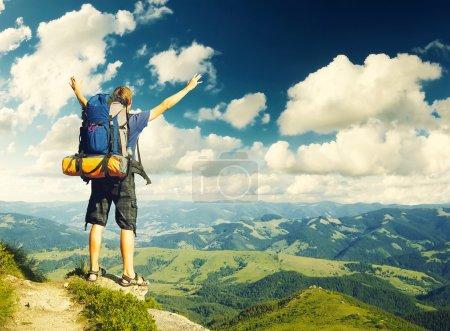 Tourist on  sky background