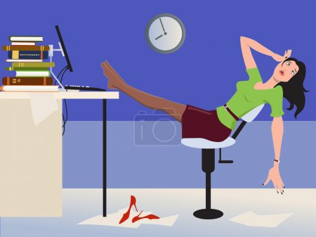 Illustration for A stressed exhausted woman in the office working late - Royalty Free Image
