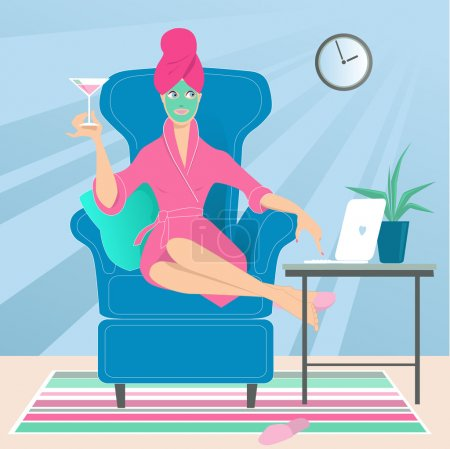 Illustration for Woman in a bathrobe with a towel on her head and a drink in her hand working on a laptop from her home, sitting in a comfortable chair - Royalty Free Image