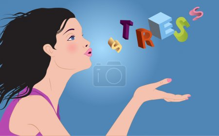 Illustration for Profile of a beautiful woman blowing away letters of the word stress off her hand - Royalty Free Image