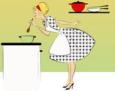 Housewife cooking dinner