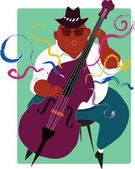 Jazz musician playing double bass