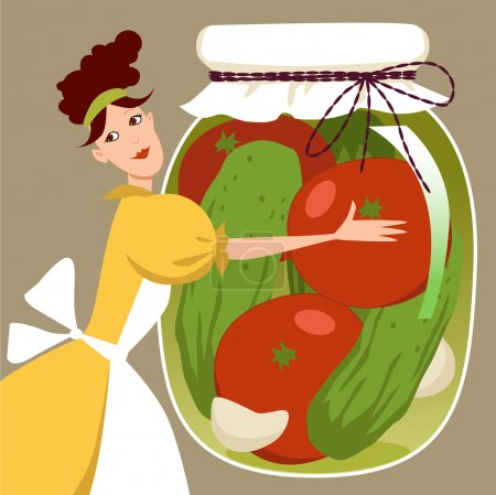 Illustration for Cute cartoon woman holding a giant mason jar of pickled tomatoes and cucumbers - Royalty Free Image