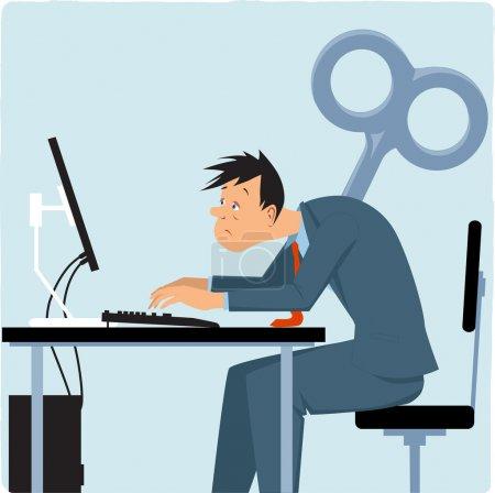 Illustration pour Employé masculin épuisé travaillant sur l'ordinateur, clé géante collant dans son dos, illustration vectorielle - image libre de droit