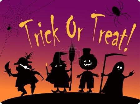 Illustration pour Carte truc ou régal avec des silhouettes de quatre personnages costumés mignons Halloween : pirate, sorcière, grande citrouille et faucheuse - image libre de droit