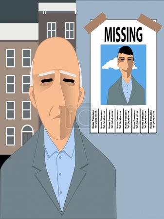 Illustration for Sad old man looking at a missing poster with a photo of him young and happy. Vector illustration - Royalty Free Image